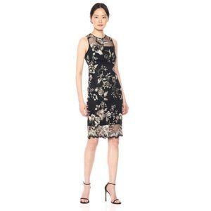Calvin Klein Asian Inspired Applique Cocktail Dress in Black & Gold - 2